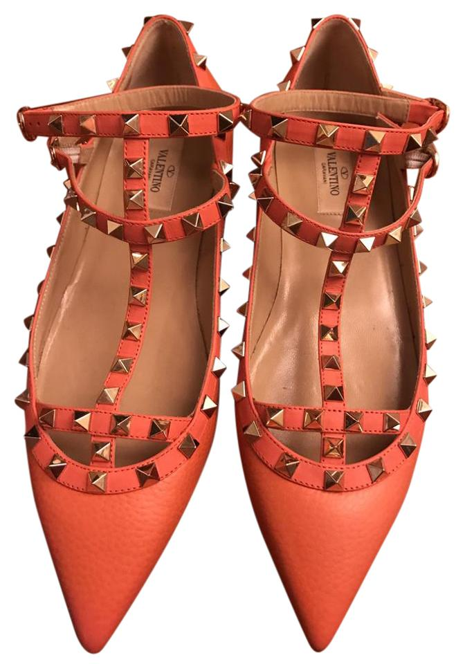 valentino tangerine rockstud leather caged ballerina flats on sale 19 off flats on sale. Black Bedroom Furniture Sets. Home Design Ideas