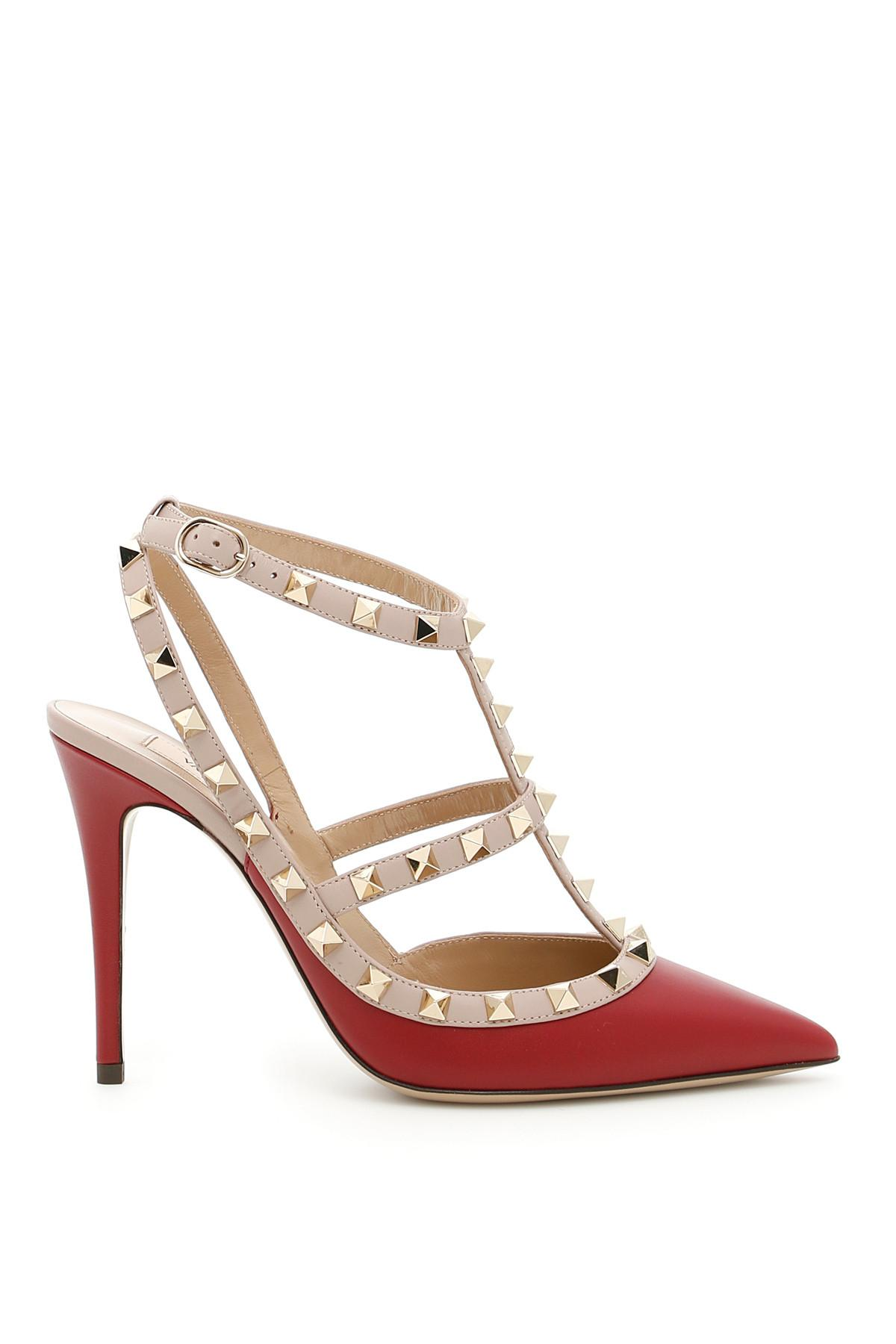 Valentino Ruby Rockstud Ankle Strap Leather Red Eu 37.5 Pumps Size US 7.5 Regular (M, B)