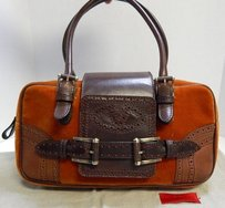 Valentino Garavani Leather Velvet Italy Satchel in Brown