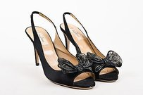 Valentino Satin Peep Black Pumps