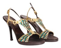 Valentino Metallic Leather Brown Blue Embroidered Slingback Sandal Gold Pumps