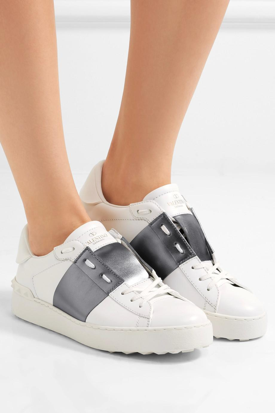 Open Sneakers in White and Silver Calfskin Valentino R0jhPGQ