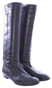 Valentino Soft Napa Leather Riding Tall Leather Italian Black Boots