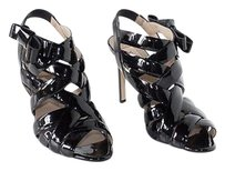 Valentino Patent Leather Strappy Open Toe Sandals Heels Black Pumps