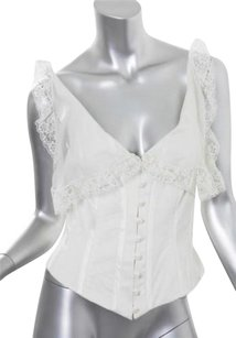Valentino Womens Silk Lace Bustier Shirt Tank Top Ivory