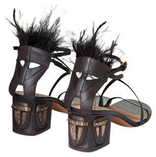 Valentino Tribal-mask Ankle Strap Black Sandals
