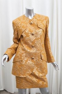 Valentino Valentino Boutique Womens Vintage Gold Jacquard Blazerskirt Suit Outfit Sm