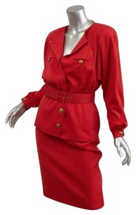 Valentino Valentino Boutique Red Vintage Striped Belted Jacketpencil Skirt Suit