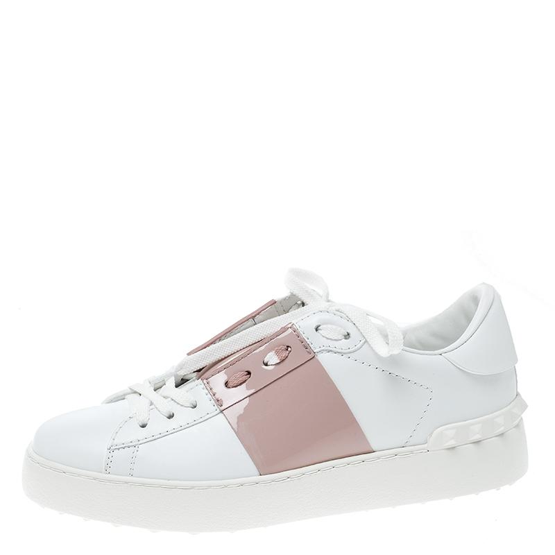 Valentino White Two Tone Leather Open Sneakers Sneakers Size EU 36 (Approx. US 6) Regular (M, B)