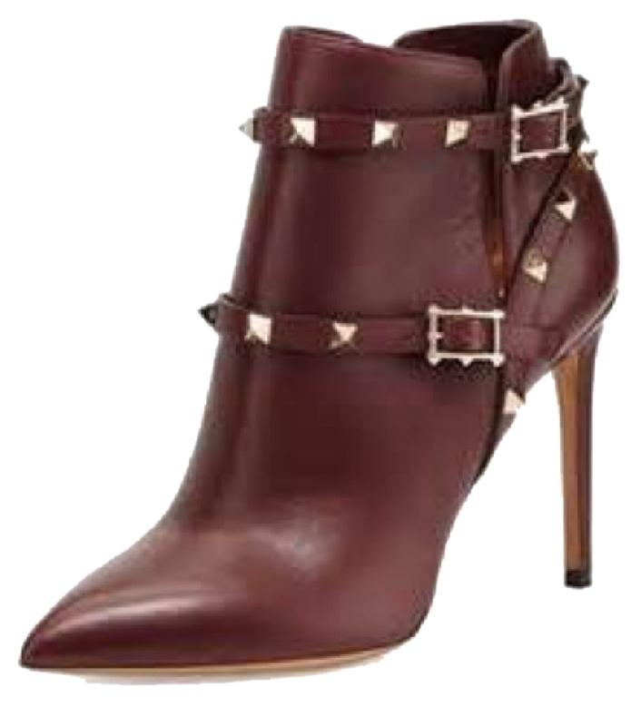 Valentino Wine Brown Rockstud Burgundy Studded Ankle Boots/Booties Size US 9 Regular (M, B)