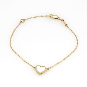 Van Cleef & Arpels Cleef Arpels Vca 18k Ygold Sweet Alhambra Mother Of Pearl Heart Bracelet
