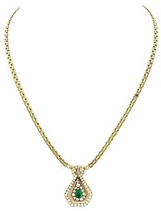 Van Cleef & Arpels Ladies Van Cleef Arpels 18k Yellow Gold Emerald Diamond Necklace