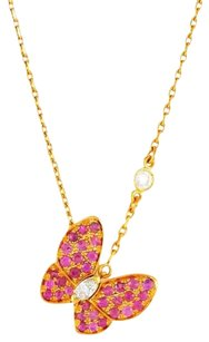 Van Cleef & Arpels Pink Sapphire Diamond Gold Butterfly Necklace (AGI Appraised)
