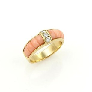 Van Cleef & Arpels Van Cleef Arpels 18k Yellow Gold Diamonds Coral Band Ring