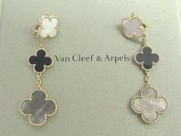 Van Cleef & Arpels Van Cleef Arpels 18kt Magic Alhambra 3-motif Onyx White Gray Mop Earrings