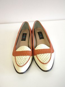 Vaneli Ivory Light Brown Leather Slip On Woven Top Loafers B2116 Multi-Color Flats