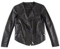 VEDA Black High Jacket Leather Gdl Coat