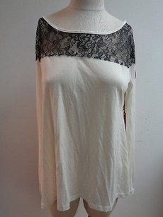 Velvet by Graham & Spencer Black Lace White Long Sleeve Viscose Rayon Boat Neck L240 Top Ivory