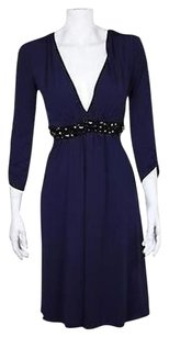 Vera Wang Lavender Label Womens Navy Sheath Career Dress