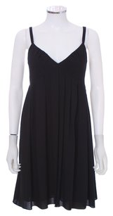 Vera Wang Silk Pleated Tank Empire Waist Lined Lbd V-neck Dress