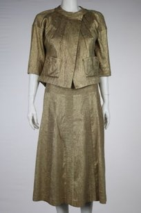 Vera Wang Vera Wang Womens Gold Metallic Skirt Suit 42 Silk Career Blazer 34 Sleeve