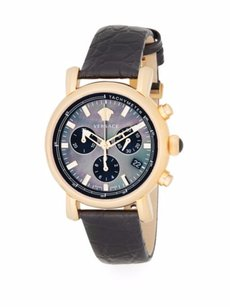 Versace Black Mother-Of-Pearl & Embossed Leather Chronograph Watch