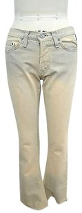 Versace Couture Blue Beige Distressed 2640 Boot Cut Jeans