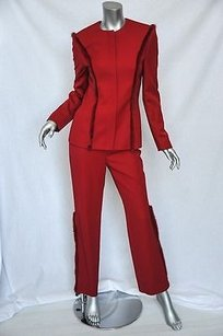 Versace Gianni Versace Couture Luxe Red Fur Trim Blazerjacketpant Suit Set Outfit 640