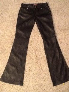 Versace Leather Jeans Straight Pants Black
