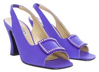 Versace Satin Rhinestone Purple Pumps