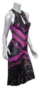 Versace Womens Blackpink Knit Printed Sleeveless Bodycon Midi 382 Dress