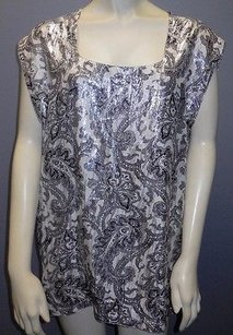 Versace Gianni Black White Metallic Paisley Scoop Neck Blouse Hs2859 Tunic