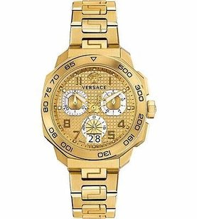 Versace Versace Dylos Yellow Gold Tone Chronograph Bracelet Watch Vqc040015 Stainless