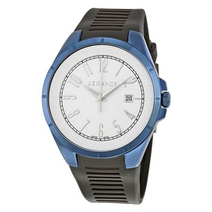 Versace Versace White Dial Black Rubber Watch
