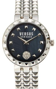 Versus Versace Silver-Tone & Charcoal Watch & Pouch Set