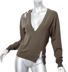 Versus Versace Womens Olive Silver Safety Pin 382 Sweater