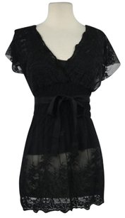 Vertigo Paris Womens Set Shirt Cap Sleeve Semi Sheer Top Black