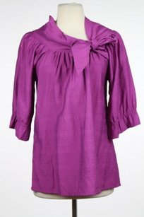 Vertigo Paris Womens 34 Sleeve Career Shirt Top Purple