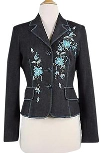 Vertigo Vertigo Womens Blue Floral Blazer Long Sleeve Polyester Blend
