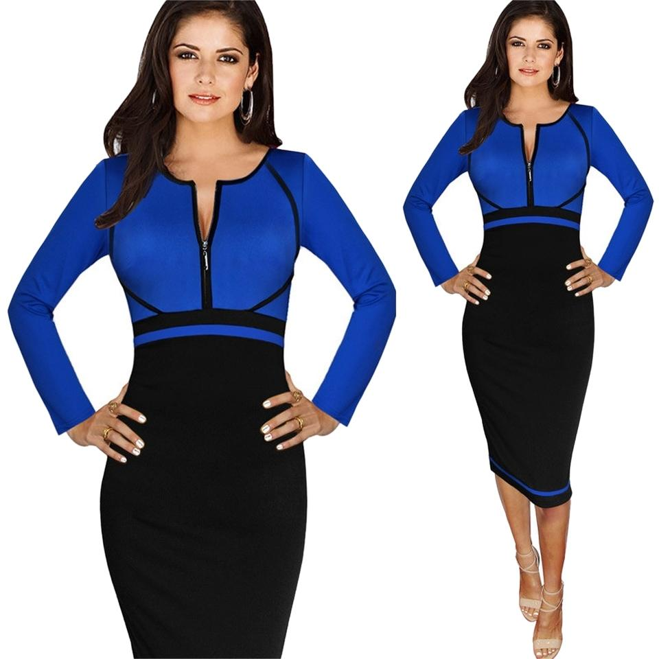 VfEmage Blue And Black Women Elegant Colorblock Front Zipper Wear To Work Business Casual Office ...