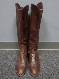 Via Spiga Round Toe Block Heeled Knee Length B3413 Dark Brown Boots