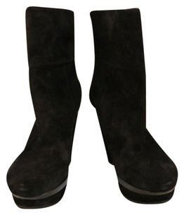 Via Spiga Womens Mid Calf Suede Leather Wedge Black Boots