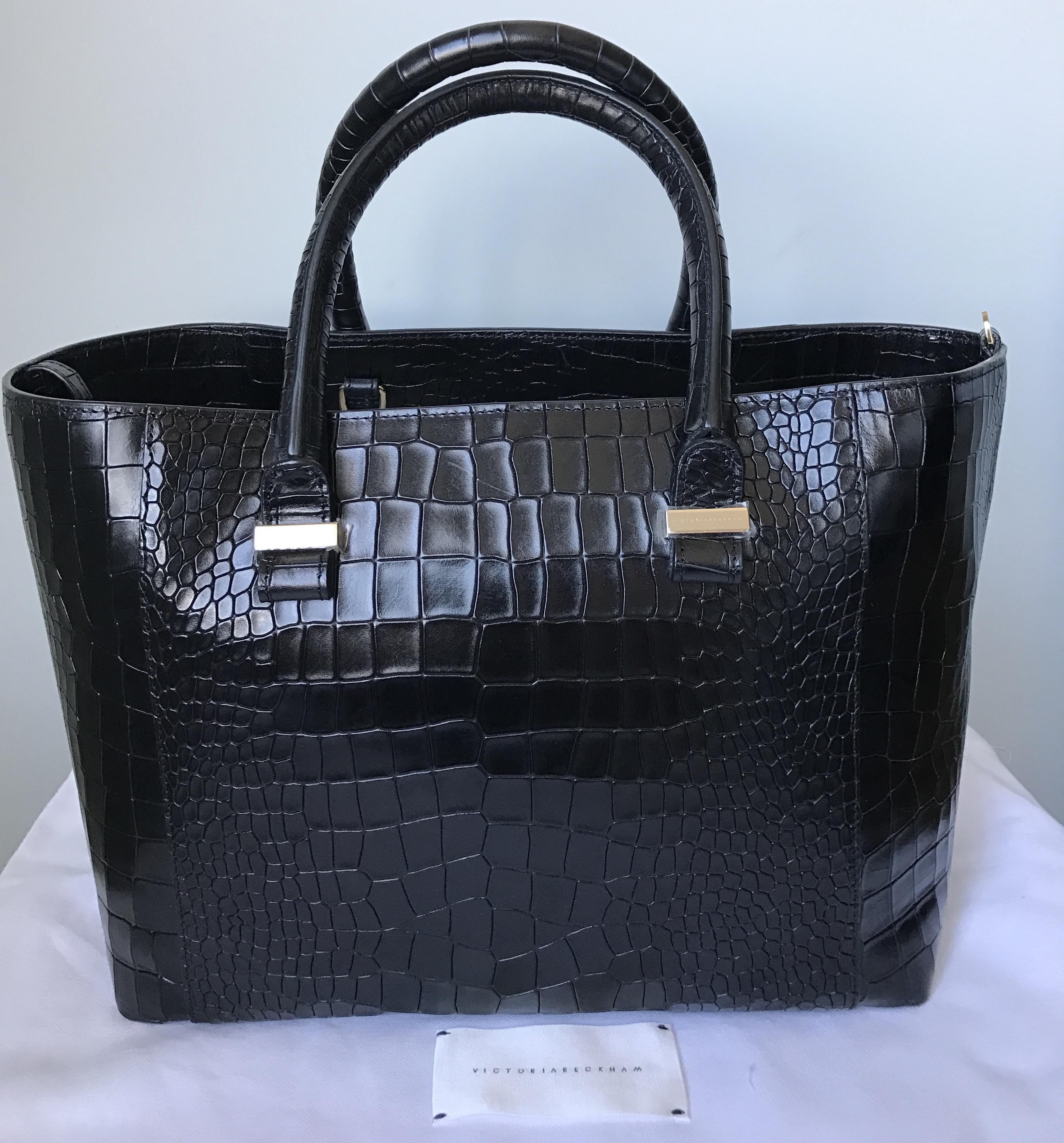 Victoria Beckham Black Convertible Leather Quincy Embossed ...