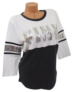 Victoria's Secret Pink S34 Sleeve Bling Charcoalwhite Sequin T Shirt Black