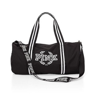 Victoria's Secret Pinkduffle Travel Tote White Stripe Crest Black Travel Bag