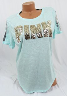 Victoria's Secret Pink Lbling Crew Mint Gold Sequin T Shirt Blue