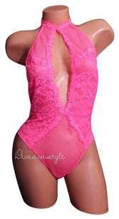 Victoria's Secret FISHNET HIGH NECK FLORAL LACE PLUNGE BABYDOLL TEDDY PINK Sz M