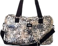 Victoria's Secret Pink Duffle Leopard Cheetah Clear Sequin Bling Out Gold Travel Bag