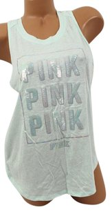 Victoria's Secret Pink Sbling Tanktop Mint Sequin Block T Shirt Green
