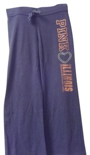 Victoria's Secret Active Wear Sweats Lounging Drawstring Iillinois College Athletic Pants Blue and Orange